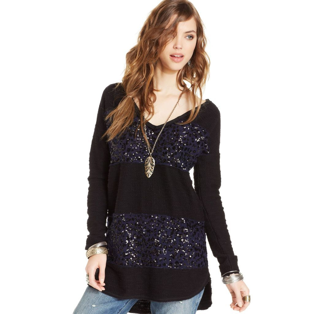 Free People - Black Long-Sleeve Sequin Colorblocked Oversized High ...