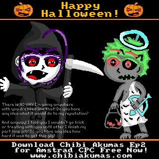 Happy Halloween! A picture I drew to promote the release of Chibi Akumas Episode 2!  Download the game here: http://www.chibiakumas.com/ep2/download/  Watch the trailer here: http://www.youtube.com/watch?v=-WoYu7u97us  レトロ8ビット弾幕STG「ちび悪魔」第2弾幕開け今ダウンロードができる!- ちび悪魔の日本語のHP: http://www.chibiakuma.com  #chibiakumas #chibi #akuma #retrogames #retrogaming #gothic #amstradcpc #8bit #チビ悪魔 #ちび悪魔
