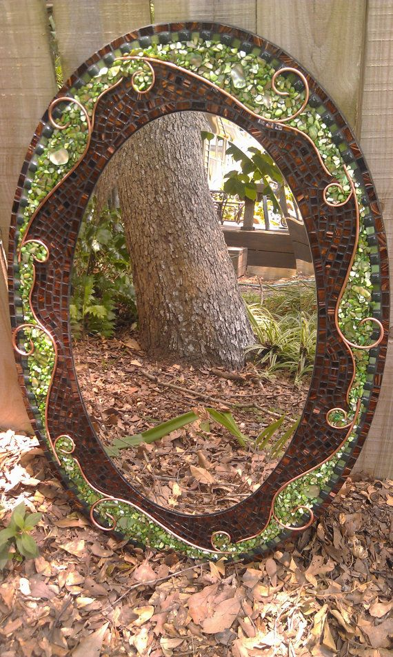 Oval Mixed Media Mosaic Mirror with green by PeacedTogetherGlass, $525.00 - Love this artists mosaic mirrors and covet them!