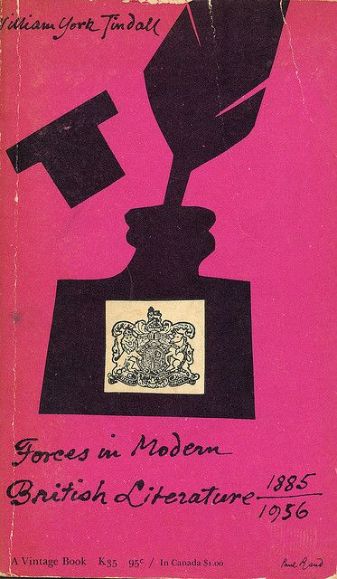 Forces In Modern British Literature cover by Paul Rand, 1956 < taste > pop retro / / simple / bold < media material > poster < layout > layoutで分類した後にさらに分類 < colour > colourで分類した後にさらに分類 < shape > geometric < decoration > 分類した後にさらに分類