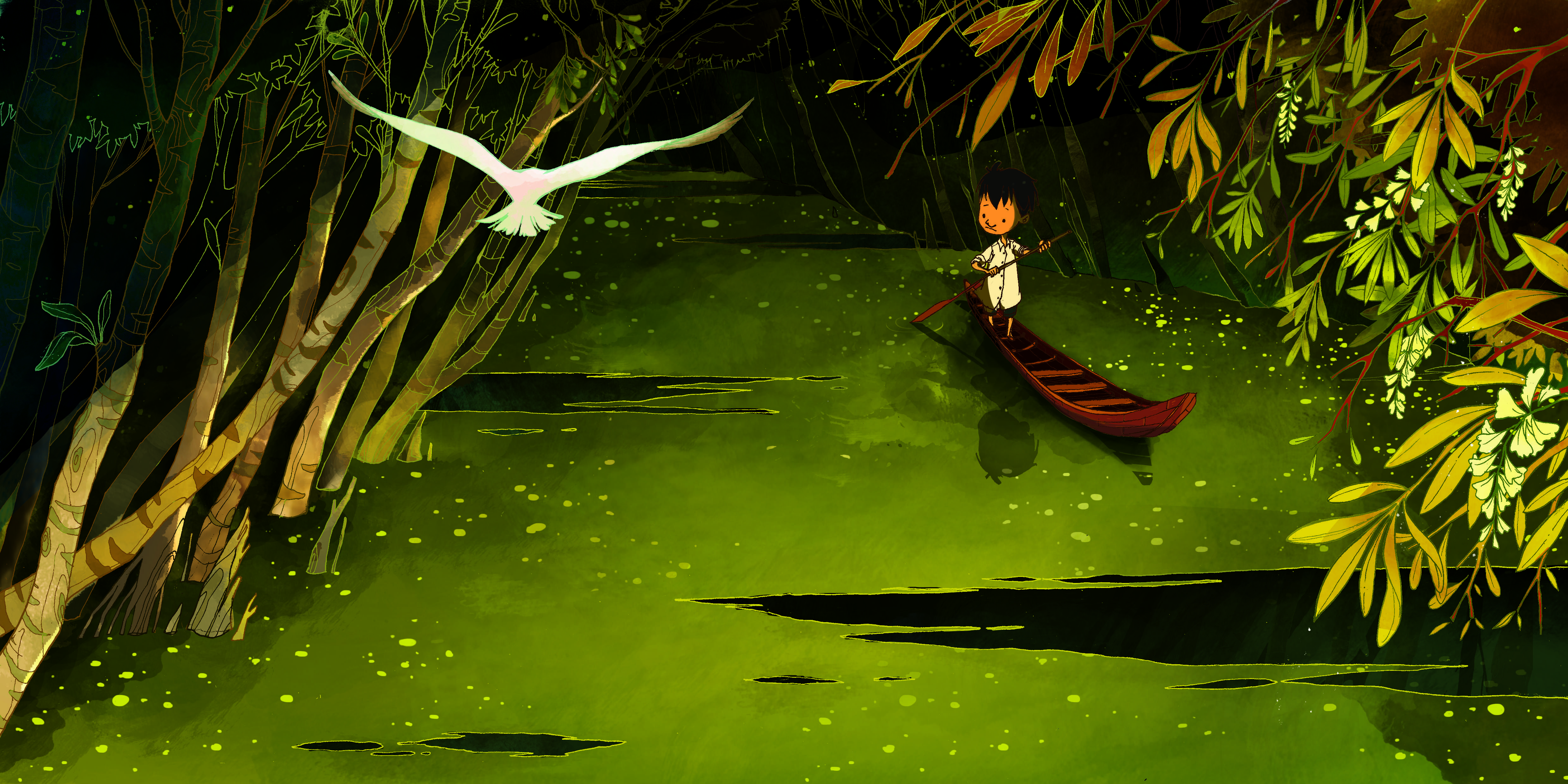 Phung Nguyen Quang and Huynh Kim Lien, a pair of Vietnamese children's book authors, took the top prize at this year's Asia-wide Scholastic Picture Book Award competition. Their beautifully illustrated story, The First Journey, follows An, a young boy who crosses the Mekong Delta for the first time on his way to school, encountering floods, snakes and a mysterious forest with a giant crocodile. Check out some outstanding illustrations from the book....