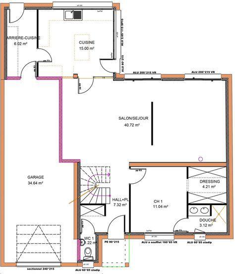 149 m² - 4 chambres - 1 étage - VUE RDC (avec images) | Plan maison 4 chambres, Plan de maison ...
