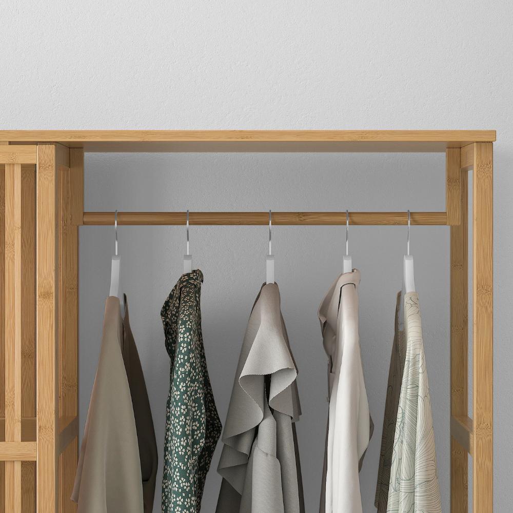 Nordkisa Open Wardrobe With Sliding Door Bamboo Ikea Sliding