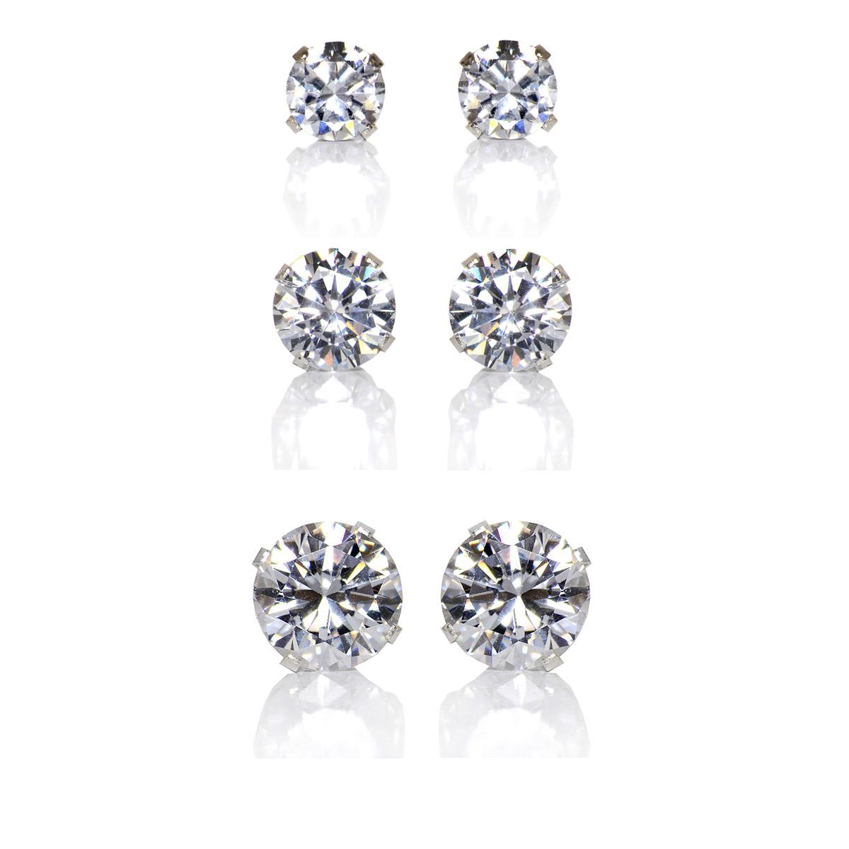 b7acb304c Everyone deserves to look and feel beautiful, and you can with these  affordable, diamond-like cubic zirconia sterling silver earring studs. This  set ...
