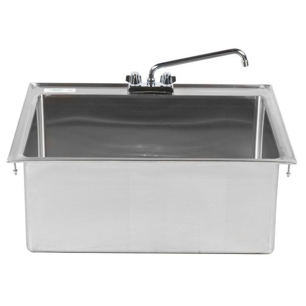 Regency 28 X 20 X 12 16 Gauge Stainless Steel One Compartment Drop In Sink With 12 Faucet With Images Sink Drop In Sink Sink Sizes