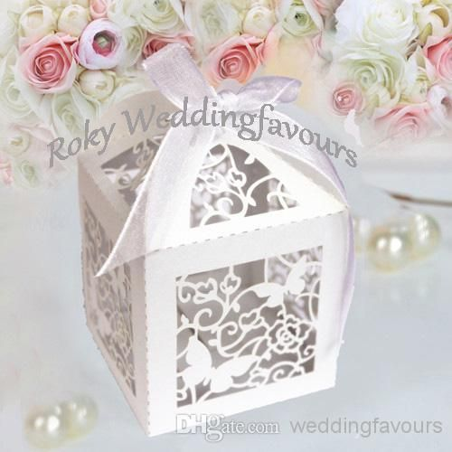 100pcslotwhiteivory Lace Butterfly Laser Cut Boxes Wedding Favors
