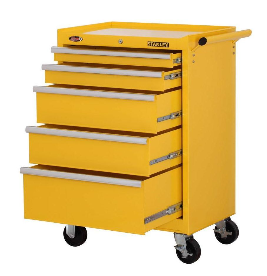 Stanley Rolling 5 Drawer Tool Storage Cabinet Mechanics Mobile Organizer Yellow