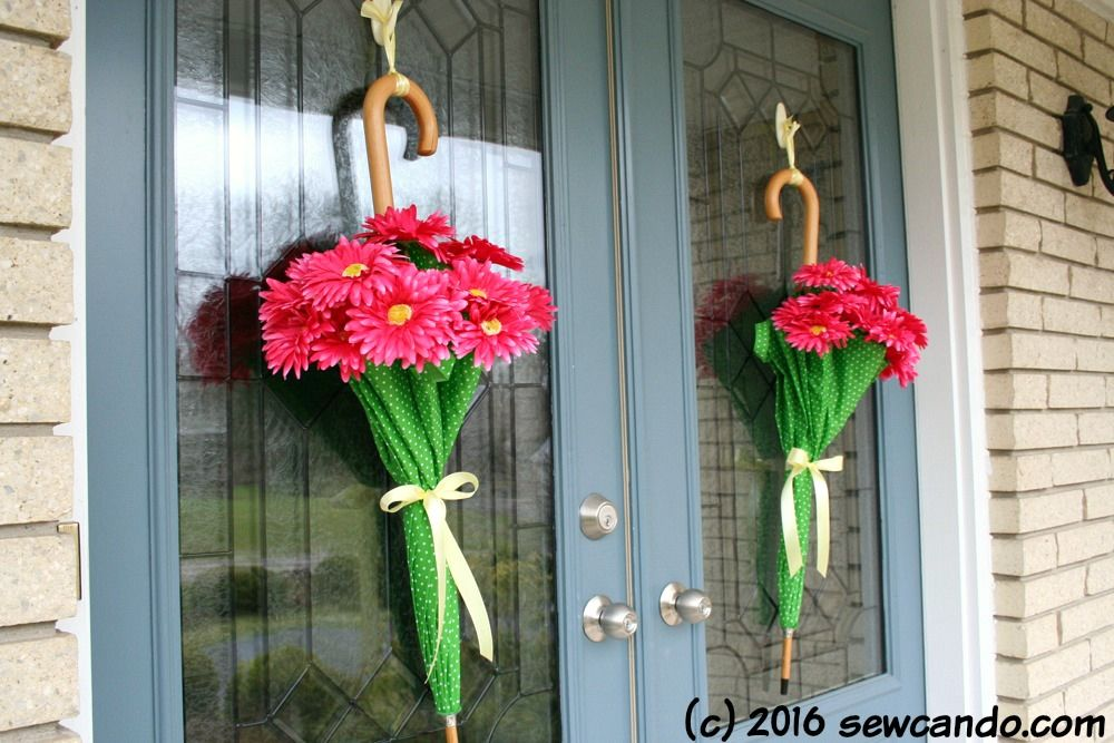 Easy Spring Decor April Showers Door Umbrellas Spring Door