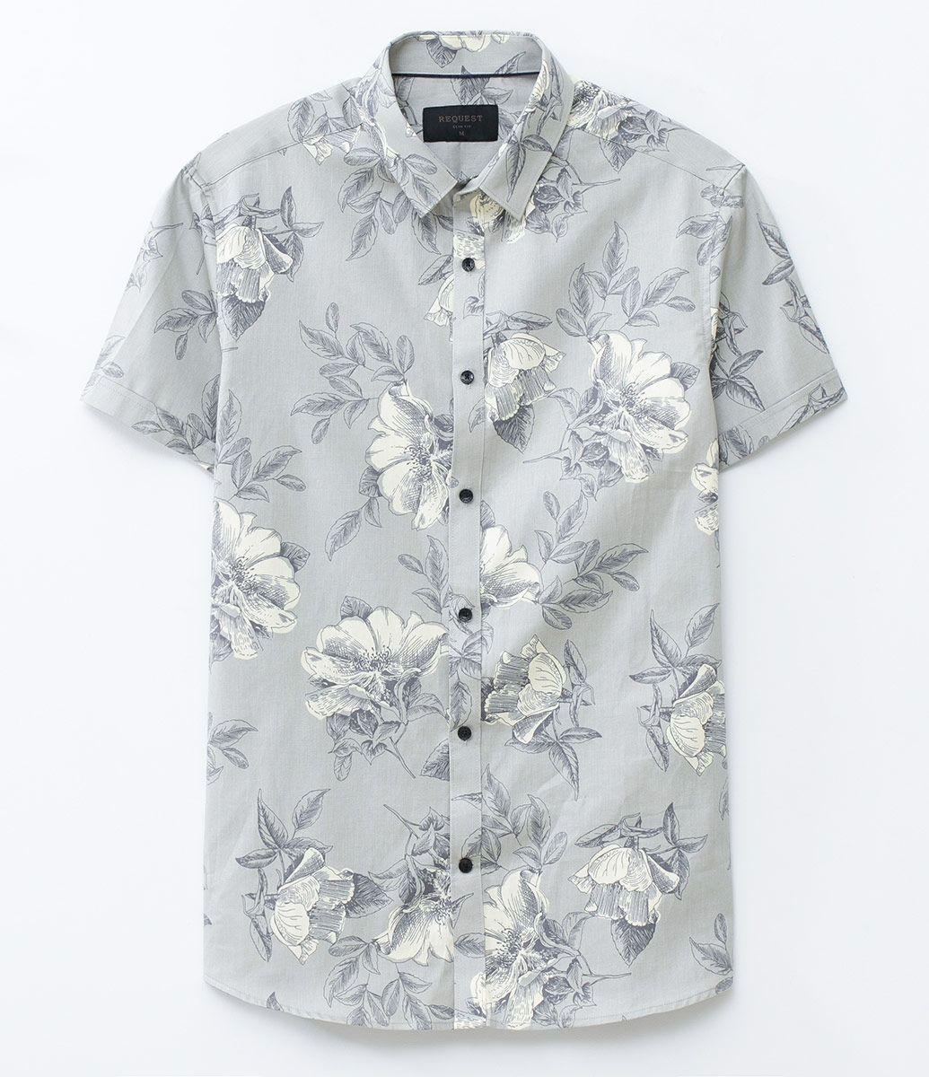 16978d988 Camisa masculina Modelo slim Manga curta Floral Marca  Request Tecido   tricoline Composição  100% algodão Modelo veste tamanho  M Medidas do  modelo  Altura  ...