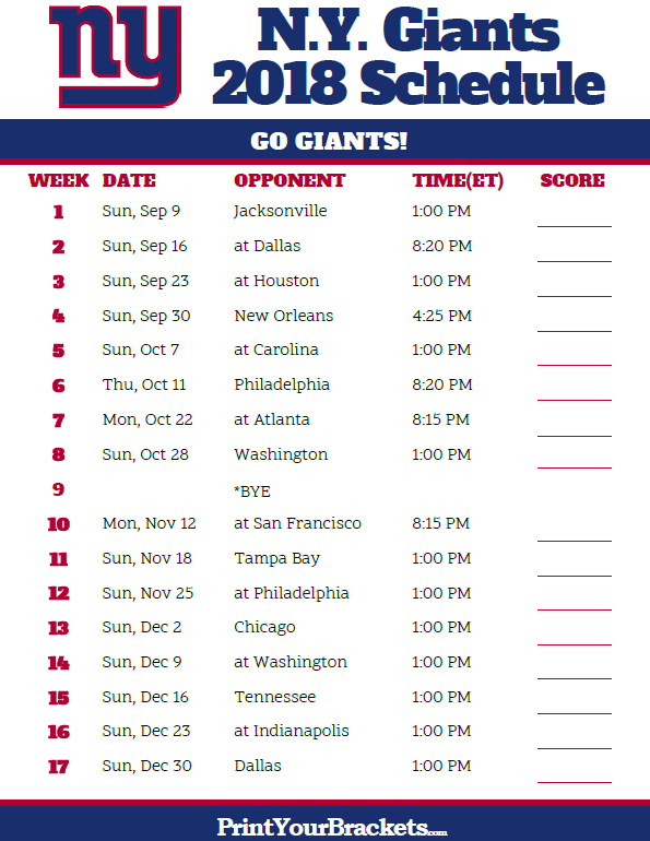 image regarding Printable Nfl Schedules named Printable 2018 N.Y. Giants Soccer Routine Printable NFL