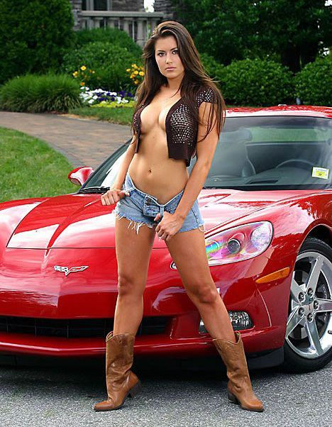 girls sexy on cars Corvette pic hot