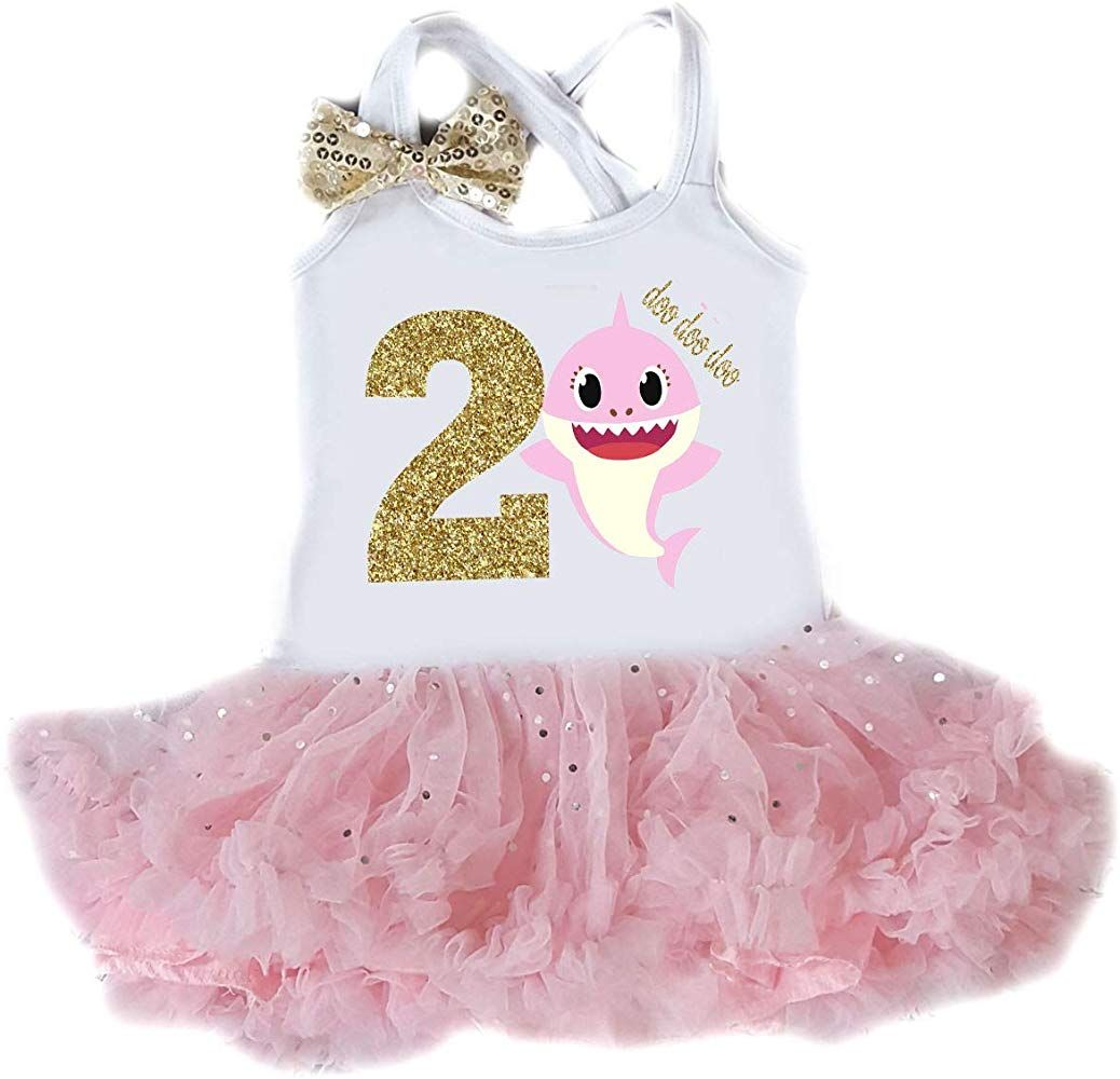 G&G Sparkly Shark 2nd Birthday Tutu Dress Two Year Old