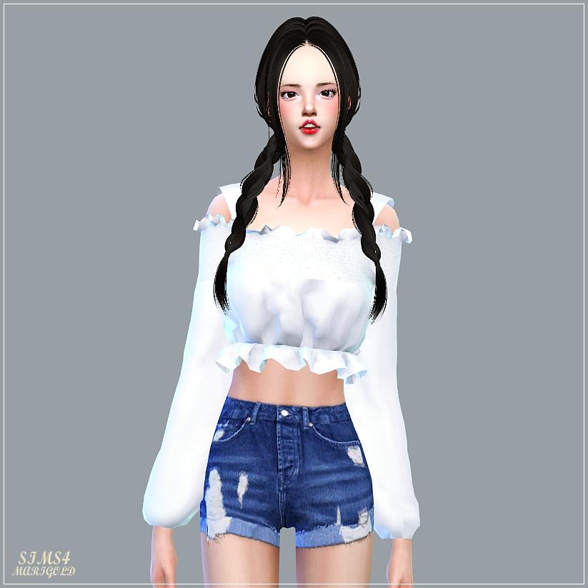 Mari Off-Shoulder Blouse_마리 오프숄더 블라우스_여자 의상 - SIMS4 marigold