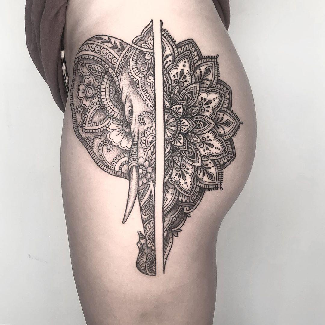 Bali Tattoo Studio Elephant Mandala Design By Artist Ipin Koloni Tattoo Community Tattoo Studio Tattoos Bali