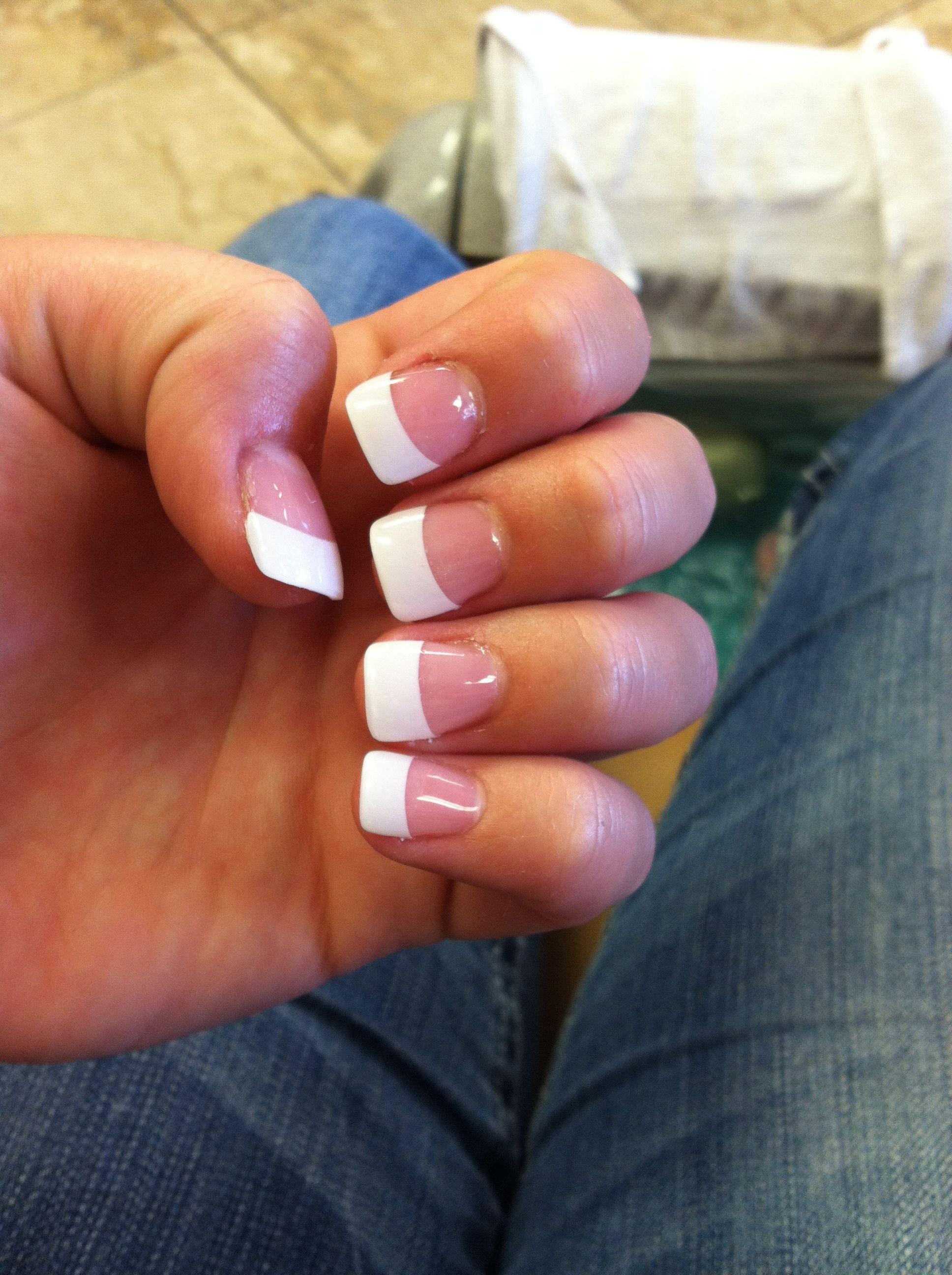 french tips. acrylic nails. hair