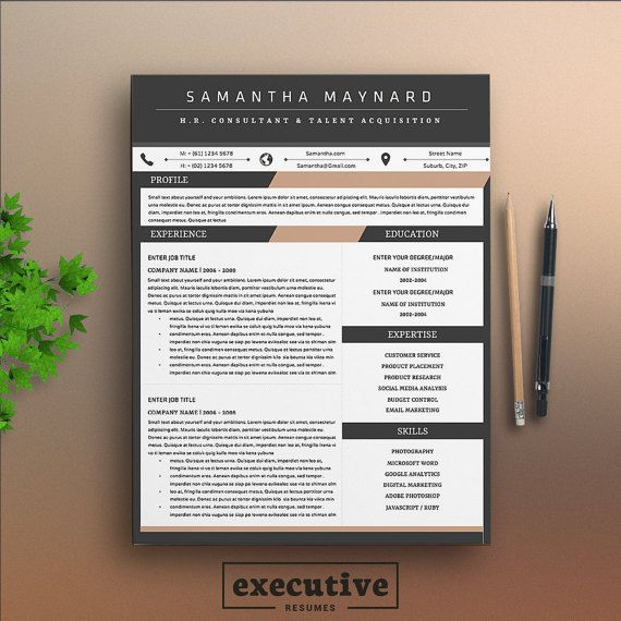 Professional 3 Page Resume Template / CV, Cover Letter A4  US