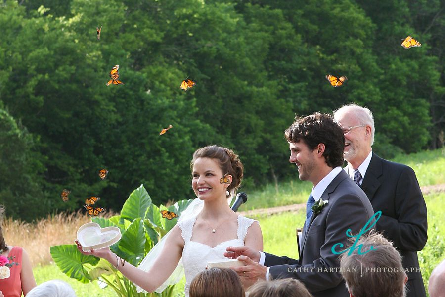 memorable wedding ceremony exit with butterfly release