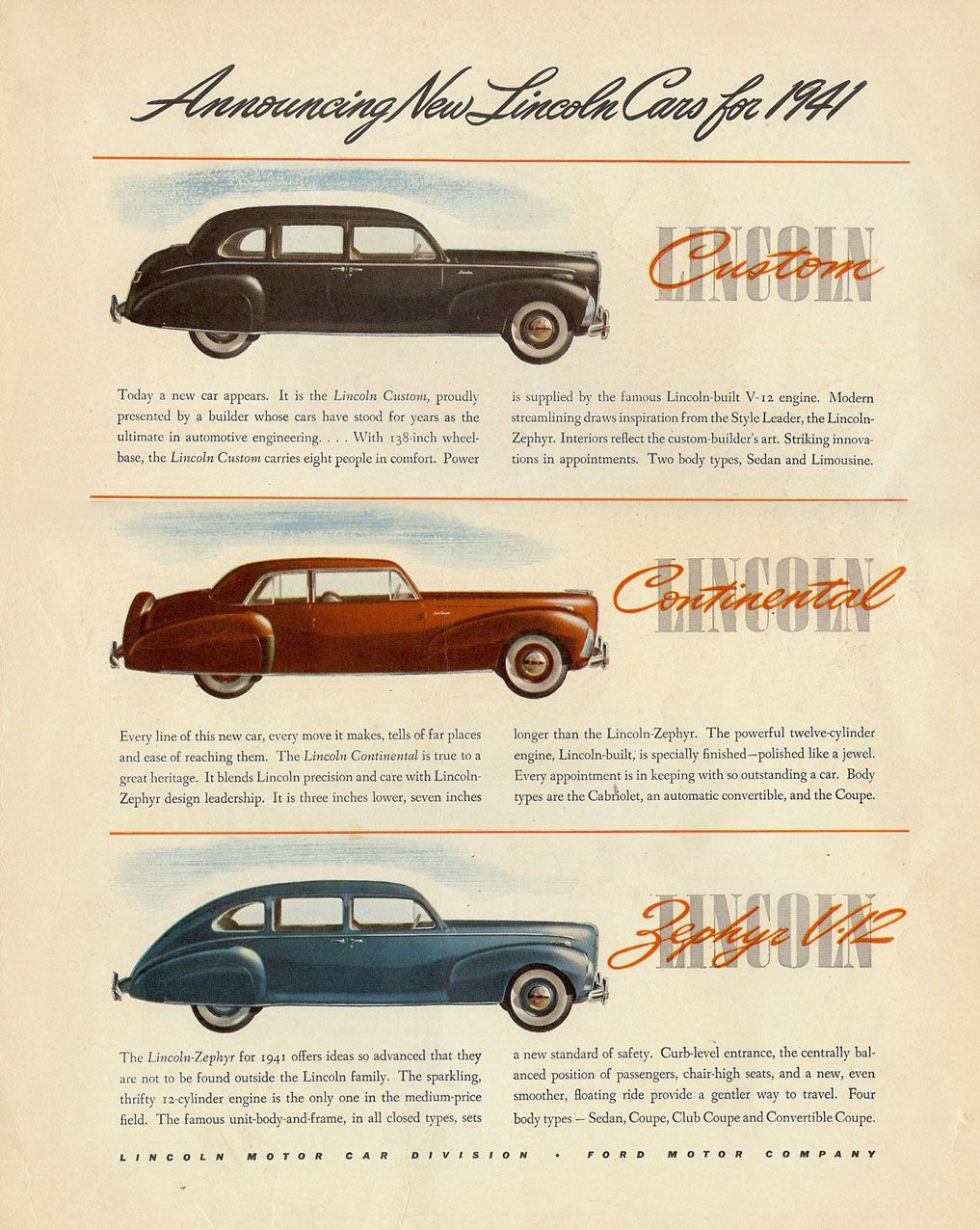 1941 Lincolns A Choice Of Some Handsome Cars 40s Pinterest