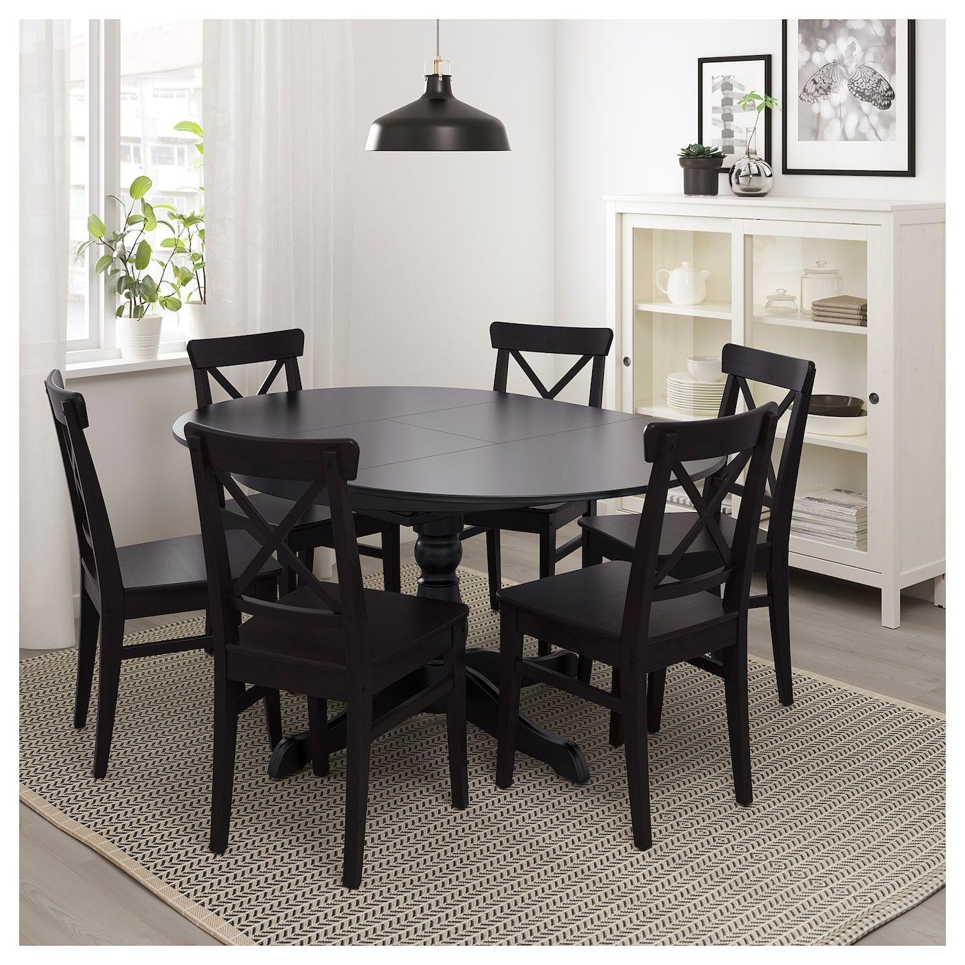 Ingatorp Extendable Table Black Ca Ikea Black Dining Room Table Black Round Dining Table Ikea Dining