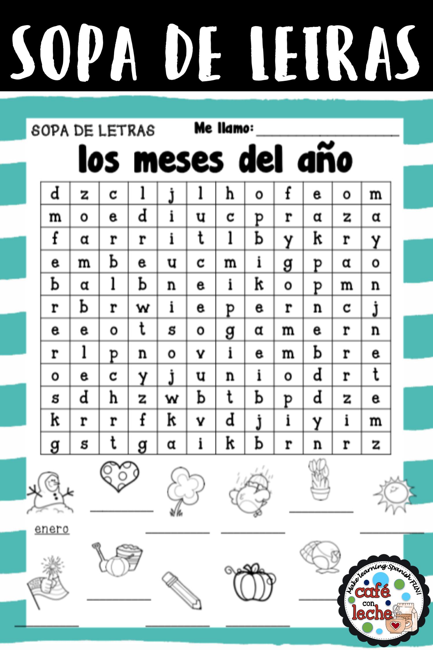 Sopa De Letras De Los Meses Del Ano Months Of The Year