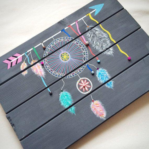 Tableau sur palette en bois inspiration boho attrape r ves maison diy pinterest palettes - Cadre attrape reve ...