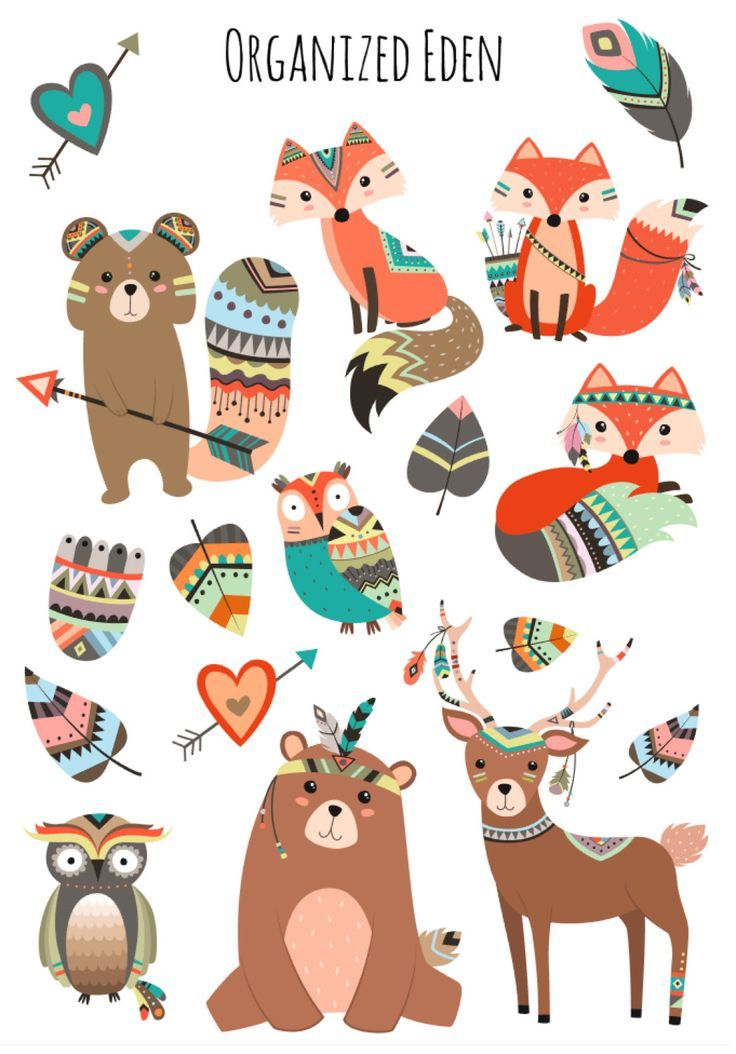 Tribe of the woodland picture stickers erin condren plum kikki k filofax stickers planner bear fox deer owl tribal arrow cupid deco