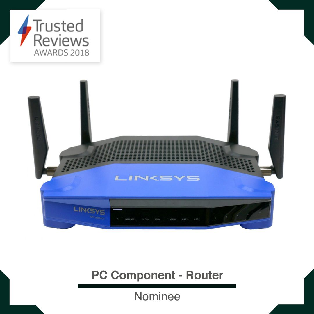 Linksys WRT1900ACS   Trusted Reviews Awards 2018   Pc components