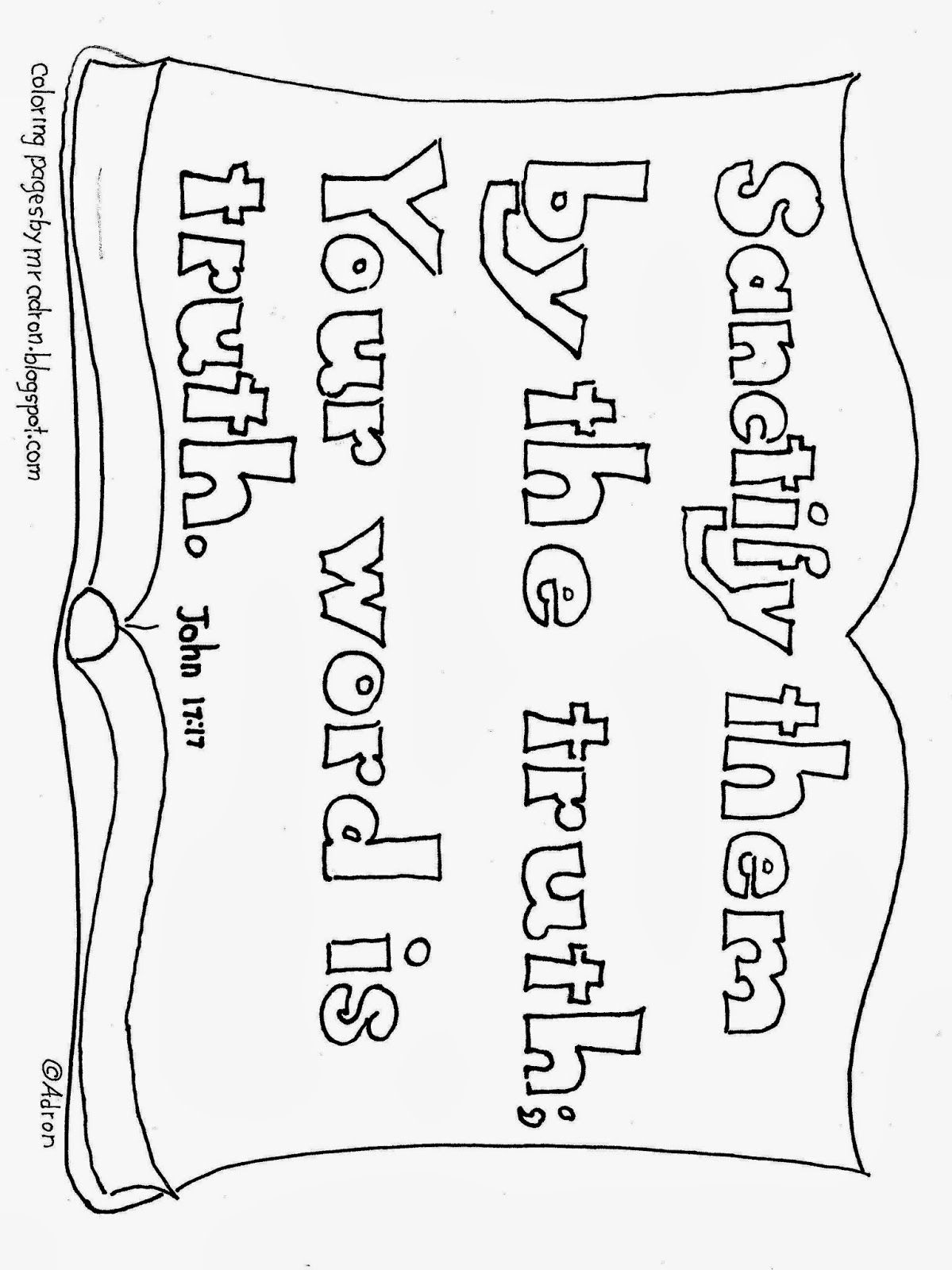 Coloring Pages For Kids By Mr Adron Your Word Is Truth Bible Verse