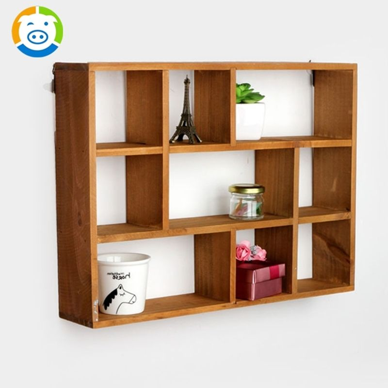 zakka home decor wooden furniture cabinet wood wall shelves home decor wooden furniture Buy Creative Home zakka Style Wood Storage Holders Rack Hooks 9 Cell Debris  Hollow Wall Shelves