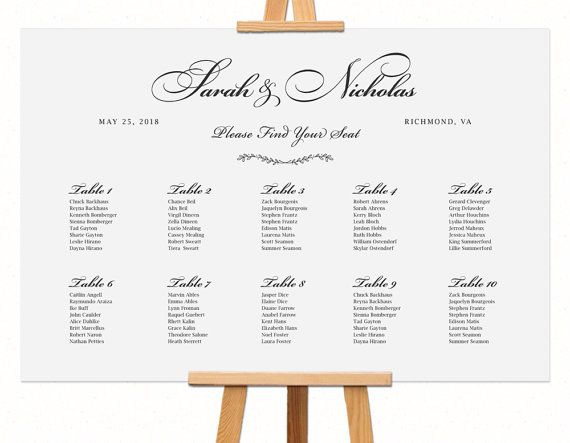 Rehearsal Dinner Table Decorations Wedding Seating Chart Etsy Seating Chart Wedding Wedding Seating Seating Chart Template