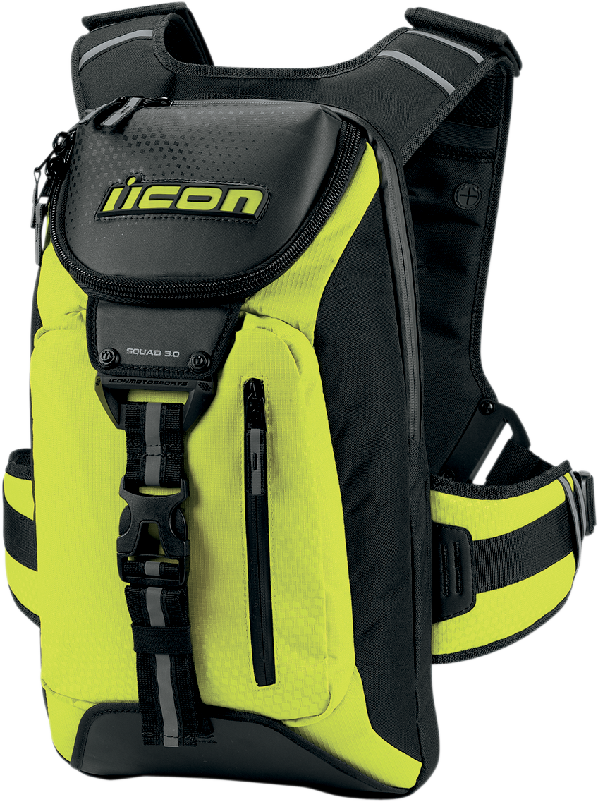 Icon Squad 3 Backpack - Hi-Visibility Yellow Unique riding chest strap  system with air mesh back padding. Internal pocket can hold back pad sold  separately.