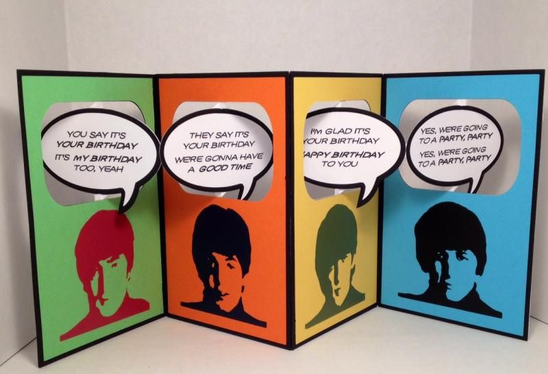 You Say It S Your Birthday Beatles Accordion Card Accordion Cards Inspirational Cards Beatles Birthday