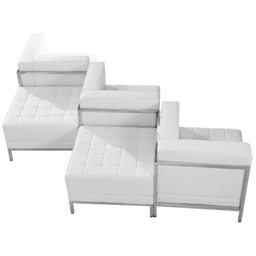 Imagination Series Melrose White Leather 5 Piece Chair
