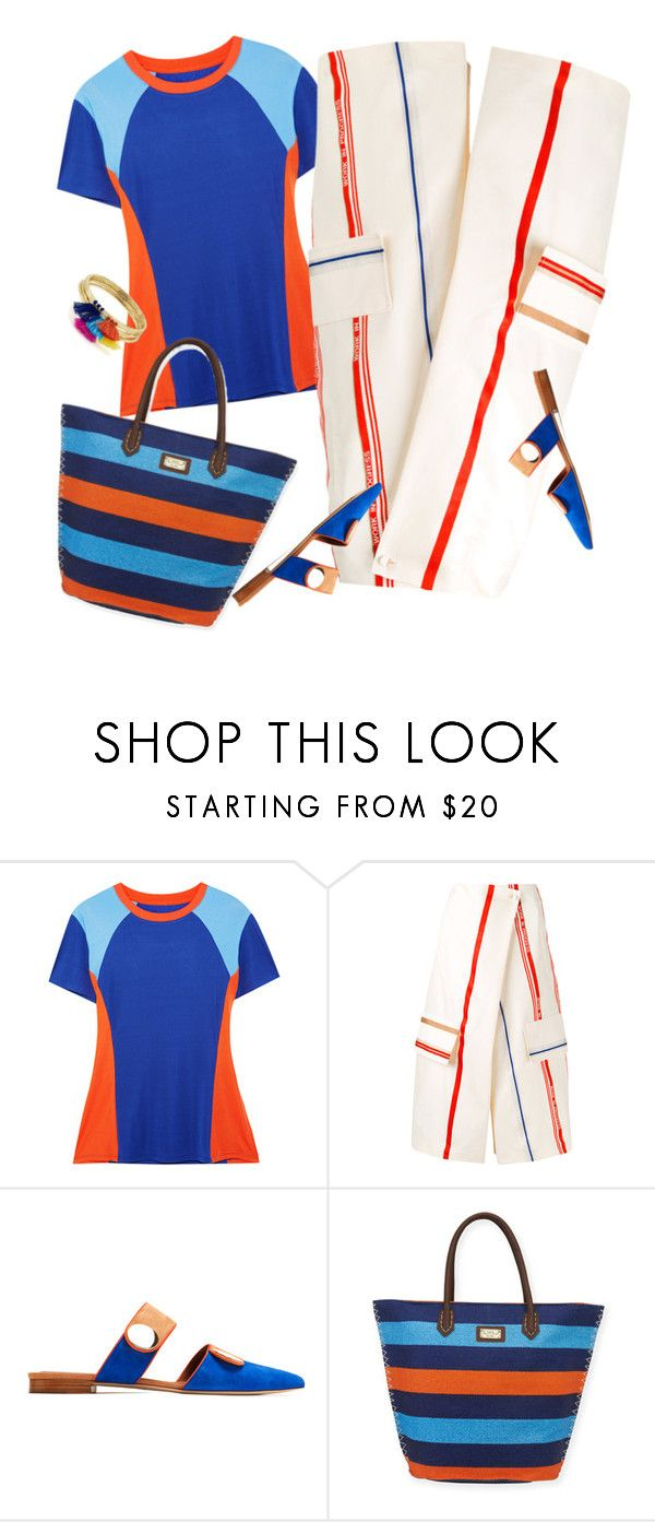"""""""Bold Stripes"""" by petalp ❤ liked on Polyvore featuring Tory Sport, Ports 1961, Malone Souliers, Sun N' Sand, Aqua and ootd"""