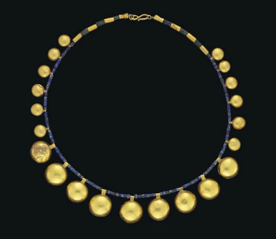 A WESTERN ASIATIC GOLD AND LAPIS-LAZULI NECKLACE - CIRCA 1ST MILLENIUM B.C. | Christie's