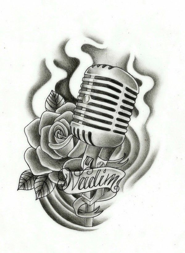 Grey Rose Flower And Microphone Tattoo Design #style #shopping #styles #outfit #pretty #girl #girls #beauty #beautiful #me #cute #stylish #photooftheday #swag #dress #shoes #diy #design #fashion #Tattoo