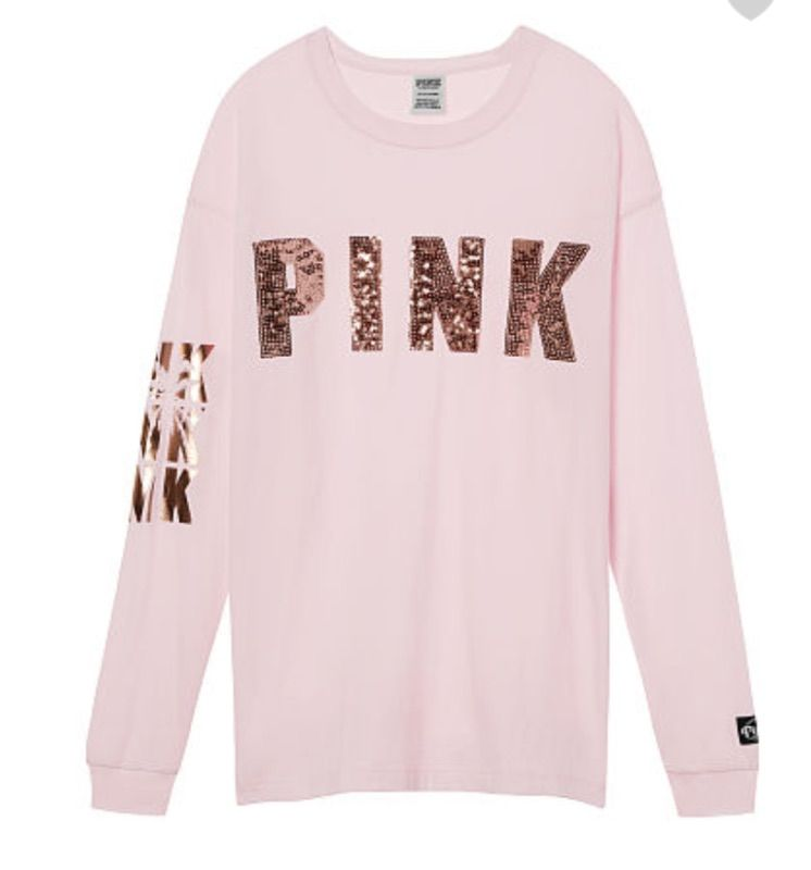 check out 0cc6a 35241 VS PINK Rose Gold Bling Pink Long Sleeve Campus Tee