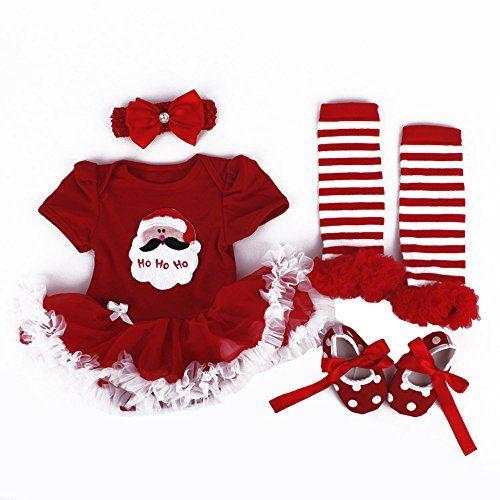 Christmas gift,4PCS Set  First Birthday Costumes  Girl Lace Tutu Romper Dress