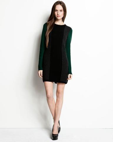 """Theory """"jiya S.loryelle"""" Green & Black Wool Sweater Dress"""