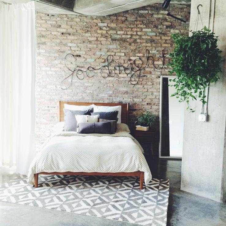 terrific exposed brick bedroom wall ideas   Great exposed brick loft w/ @westelm's Mid-Century Bed ...
