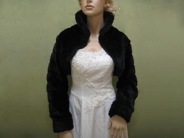 Black Faux Fur Long Sleeve Jacket Shrug Bolero By Alexbridal 99