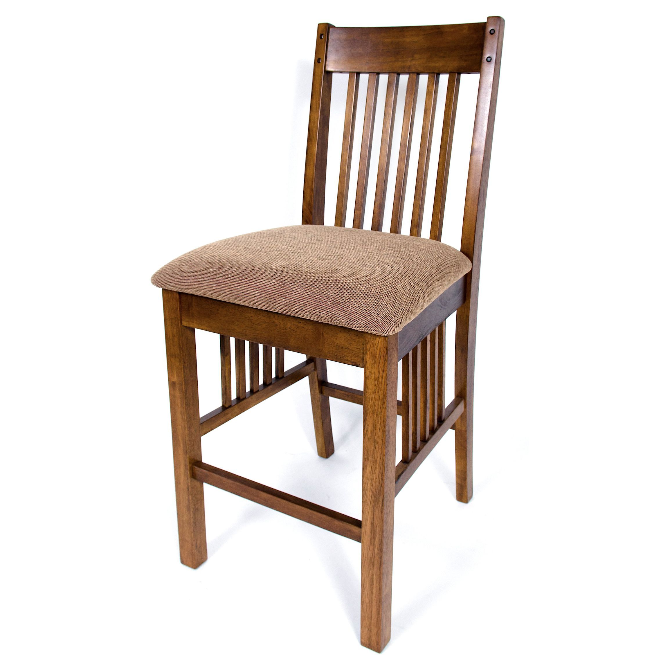 Solid Hardwood Mission Cushion 24 Inch Counter Height Barstool Set
