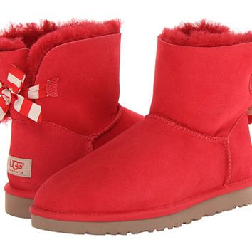 845592dfd48 UGG Mini Bailey Bow Stripe Red Twinface - Zappos.com Free Shipping ...