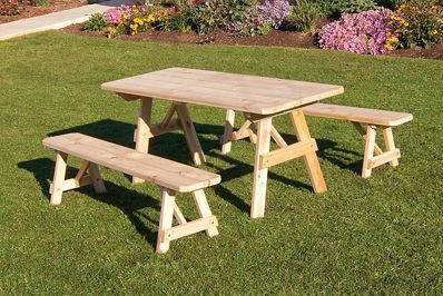 6 Foot Western Cedar Traditional Picnic Table With 2 Benches Picnic Table Bench Picnic Table Outdoor Dining Set