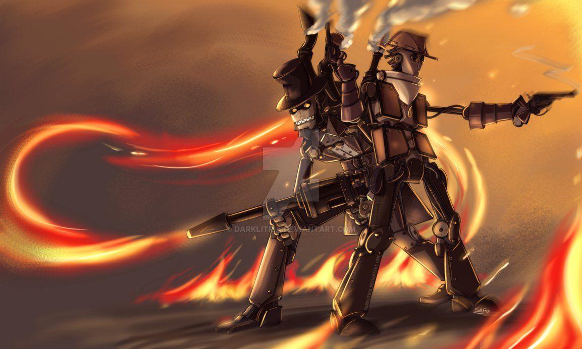 Tf2 Steampunk Robot Pyro And Scout By Darklitria