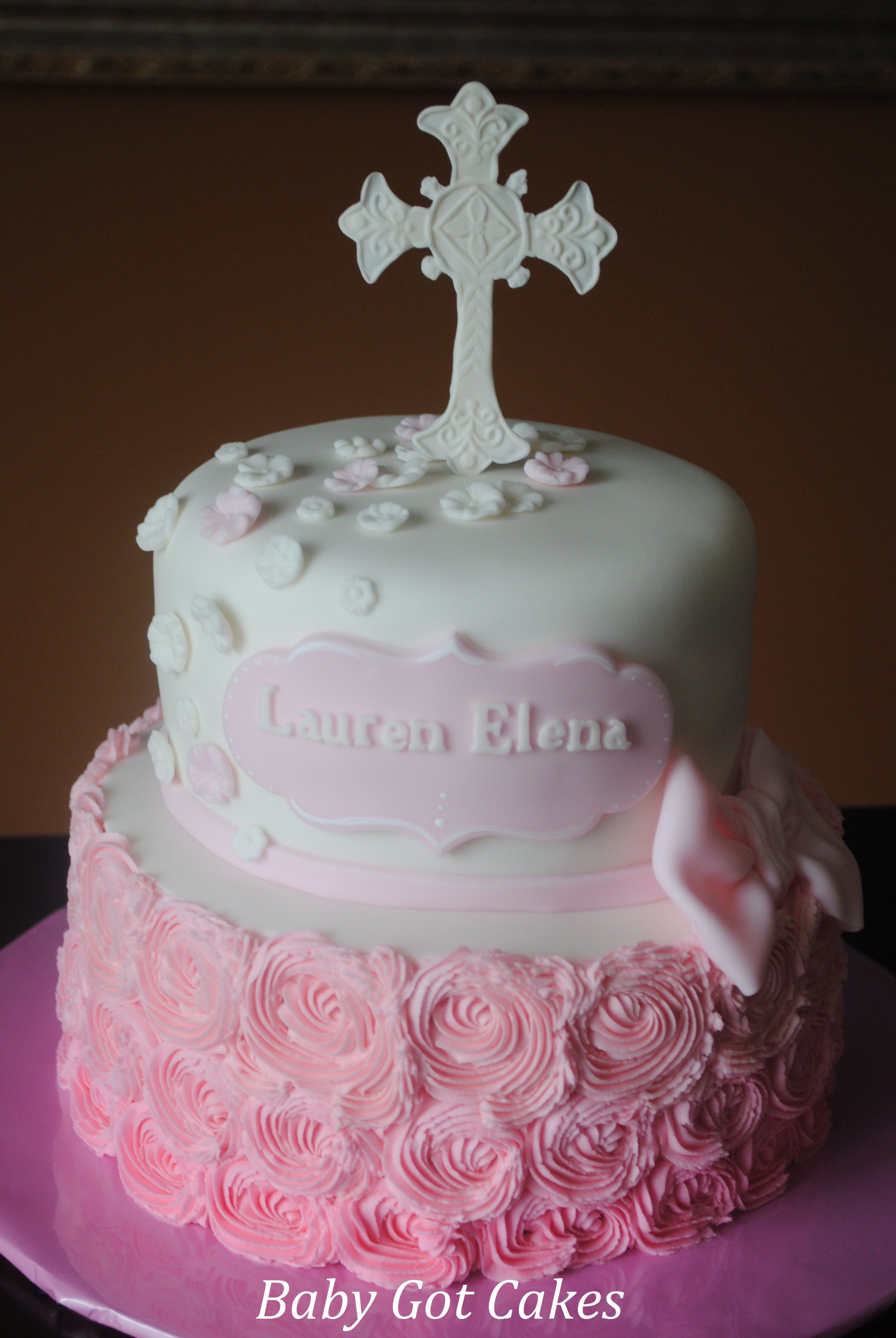 top tier of wedding cake for christening christening buttercream rosettes two tier christening 21069