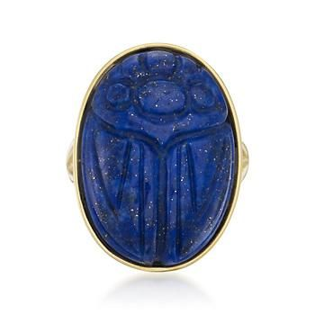 The ancient Egyptians revered scarab jewelry, and the beetle design of this lapis ring has been popular ever since. Wear this one for luck, protection or just for fun. Vermeil ring.