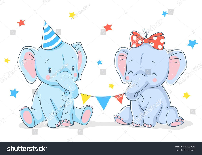 Download Cute elephants girl and boy cartoon hand drawn vector ...