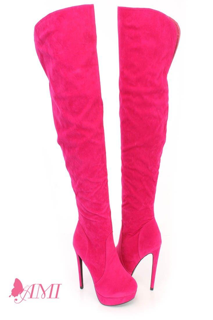 Hot Pink Stiefel Thigh High Platform High Heel Stiefel Pink Faux Suede in 2018 d1d90d