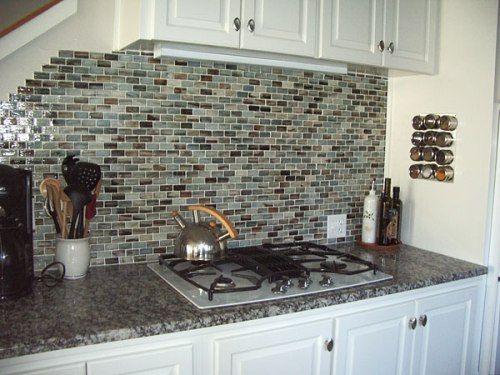 kitchen countertops white cabinets. Stone Backsplash With Dark Countertops   White Kitchen Cabinets Granite